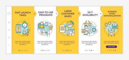 Online market place benefits onboarding vector template. Responsive mobile website with icons. Web page walkthrough 5 step screens. Easy-to-use programs color concept with linear illustrations