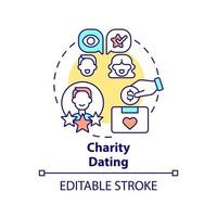 Charity dating concept icon. Fundraising kind abstract idea thin line illustration. Raising money for charity. Paid date with celebrities. Vector isolated outline color drawing. Editable stroke