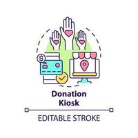 Donation kiosk concept icon. Fundraising event abstract idea thin line illustration. Collecting gifts from supporters. Support organizations. Vector isolated outline color drawing. Editable stroke