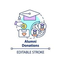 Alumni donations concept icon. Fundraising appeal abstract idea thin line illustration. Supporting colleges and universities. Additional revenue. Vector isolated outline color drawing. Editable stroke