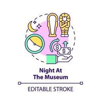 Night at museum fundraiser concept icon. Fundraising campaign abstract idea thin line illustration. Supporting local landmark. Cultural event. Vector isolated outline color drawing. Editable stroke