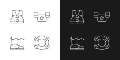 Iconos lineales de equipos de piscina establecidos para el modo oscuro y claro. chaleco salvavidas. puente de charco. Zapatos de agua. boya de anillo. símbolos de línea fina personalizables. ilustraciones de contorno de vector aislado. trazo editable
