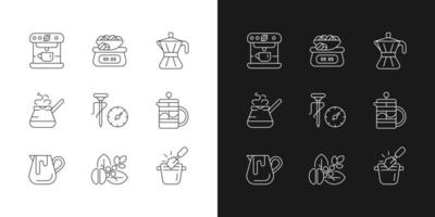 Coffee shop linear icons set for dark and light mode. Moka pot. Turkish cezve for brewing drink. Customizable thin line symbols. Isolated vector outline illustrations. Editable stroke