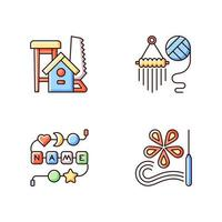 Creative activities RGB color icons set. Woodworking. Yarn wall hangings. Personalised silicone teether chain. Isolated vector illustrations. Paper quilling simple filled line drawings collection