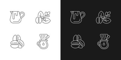 Coffee preparation linear icons set for dark and light mode. Milk pitcher for barista. Raw beans. Customizable thin line symbols. Isolated vector outline illustrations. Editable stroke