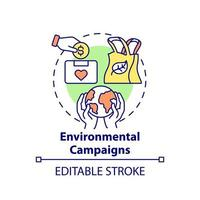 Environmental campaigns concept icon. Fundraising abstract idea thin line illustration. Raise money for ecology defense. Climate change charity. Vector isolated outline color drawing. Editable stroke