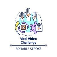 Viral video challenge concept icon. Fundraising appeal abstract idea thin line illustration. Encouraging donations to research. Vector isolated outline color drawing. Editable stroke