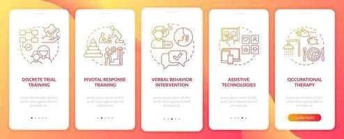 La terapia asd se acerca a la pantalla de la página de la aplicación móvil incorporada. Tutorial de intervención conductual Instrucciones gráficas de 5 pasos con conceptos. ui, ux, plantilla de vector de interfaz gráfica de usuario con ilustraciones en color lineal