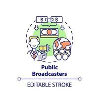 Public broadcasters fundraiser concept icon. Fundraising type abstract idea thin line illustration. Public television and radio. Vector isolated outline color drawing. Editable stroke