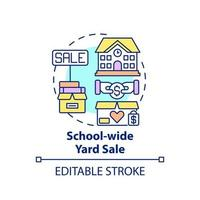 School-wide yard sale concept icon. Fundraising appeal abstract idea thin line illustration. Earning money for school activities. Vector isolated outline color drawing. Editable stroke