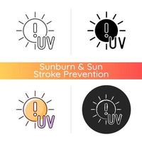 Danger of UV rays icon. Ultraviolet exposure risk during summer. Caution to prevent heat exhaustion. Sun overexposure. Linear black and RGB color styles. Isolated vector illustrations