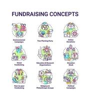 Fundraising concept icons set. Gathering financial support idea thin line color illustrations. Environmental campaign. Online donations. Vector isolated outline drawings. Editable stroke