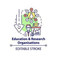 Education and research organizations concept icon. Fundraising type abstract idea thin line illustration. Provide scholarships, fellowships. Vector isolated outline color drawing. Editable stroke