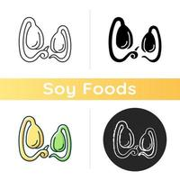 Soy sprouts icon. Culinary ingredient growing. Healthy micro greens. Vegetarian meals preparing. Natural soy beans. Linear black and RGB color styles. Isolated vector illustrations