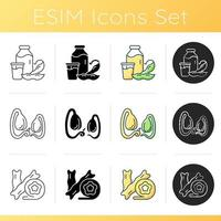 Soy ingredients icons set. Vegetarian high nutrition foods preparation. Organic vegetables in meal. Soybean cooking options. Linear, black and RGB color styles. Isolated vector illustrations