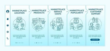 Market place choice parameters onboarding vector template. Responsive mobile website with icons. Web page walkthrough 5 step screens. Customer support, location color concept with linear illustrations