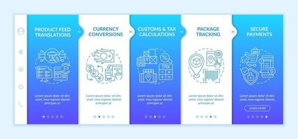 International retailing service onboarding vector template. Responsive mobile website with icons. Web page walkthrough 5 step screens. Product adaptation color concept with linear illustrations