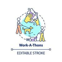 Work-a-thons fundraiser concept icon. Fundraising appeal abstract idea thin line illustration. Assisting local neighbors. Gathering donations. Vector isolated outline color drawing. Editable stroke