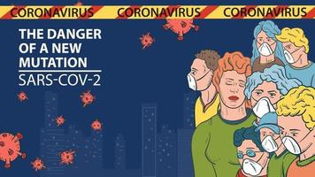 banner illustration for the design of the new virus corona SARS-CoV-2 a cluster of masked people against the background of the city and flying virus molecules vector
