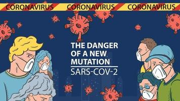 banner illustration for the design of the new virus corona SARS-CoV-2 masked people on the background of the city and flying virus molecules in the middle the inscription name vector