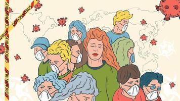 banner illustration for the design of the corona virus SARS-CoV-2 a crowd of masked people and a girl in a crowd without a mask vector