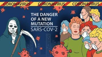 banner illustration for the design of the new virus corona SARS-CoV-2 masked people on the background of the city of death with a scythe and flying virus molecules in the middle the inscription name warning vector