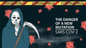 banner illustration for the design of the new virus corona SARS-CoV-2 death with a scythe on the background of the city and flying virus molecules vector
