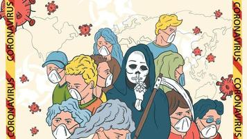 banner illustration for the design of the virus corona SARS-CoV-2 a cluster of masked people in the middle a skeleton of death with a scythe and flying virus molecules vector