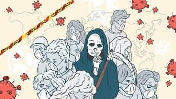 banner illustration for the design of the virus corona SARS-CoV-2 a cluster of masked people a gray mass in the middle a skeleton of death with a scythe and virus molecules vector