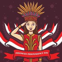 indonesian female girl greeting happy independence day vector