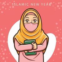 moslem girl greeting happy muharram islamic new year vector