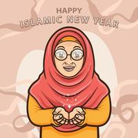 old moslem ladies greeting happy islamic new year vector