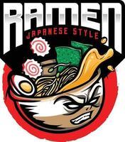 ilustración de logotipo de comida japonesa de fideos ramen vector
