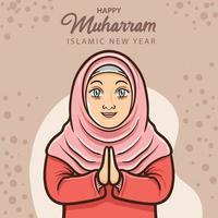 smile moslem girl greeting happy islamic new year vector