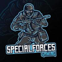 soldier holding weapon gaming esport logo illustration vector