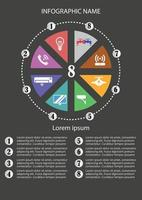 Infographic template with 8 option vector