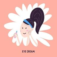 Woman applying care cream to the area around the eyes, icon isolated on the background. Vector illustration in cartoon hand draw style. Korean facial skin care.
