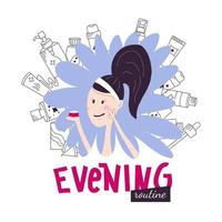 Korean evening face skincare routine with lettering. Young woman smears cream on her face. Vector illustration in hand draw style