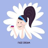 Young woman applying face cream from a jar, icon isolated on background. Vector illustration in cartoon hand draw style. Korean special facial skin care.