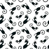 Seamless pattern with a graceful black cat bent its back. Black and white vector endless texture.