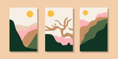 Trendy minimalist abstract landscape illustrations. Set of hand drawn contemporary artistic posters. vector