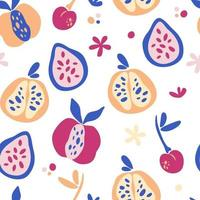 Seamless pattern with abstract tropical fruits. Trendy hand drawn textures. Modern abstract design for paper, cover, fabric, interior decor and other users. Fruit mix background. Vector illustration.