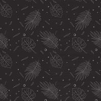 Jungle Leaves Seamless Pattern Line Art vector