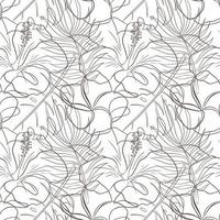 Abstract Floral Tropical Seamless Pattern Line Art vector