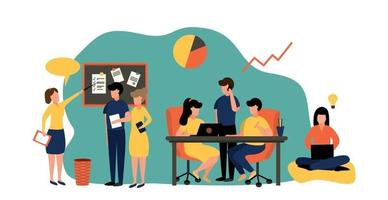 Business teamwork in a friendly team - Vector