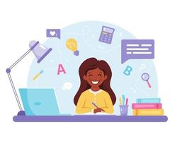 Indian girl studying with computer. Online learning, back to school concept. vector