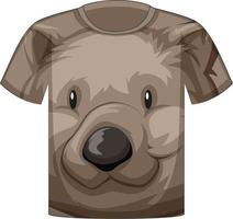 Front of t-shirt with face of cute bear pattern vector