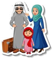 Happy Arab family cartoon character sticker on white background vector