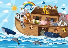Noah's Ark with animals in the ocean scene vector