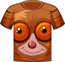 Front of t-shirt with face of slow loris pattern vector